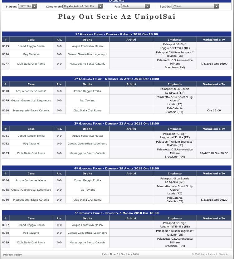 Avversario per i play out è il Taviano, domenica 8 si comincia